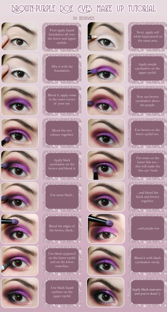 Brown/Purple Doe Eyes Make-Up Tutorial by Hedwyg23