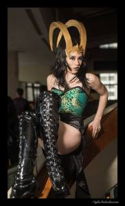 Loki of Venus/Mischief Cupcake as Courtesan Loki from Thor, photo by Kyle Nishioka and Loki Horns by Kitty Krell